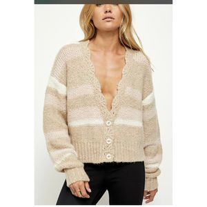 FREE PEOPLE Fine Time Beige Color Cardigan Sz XL